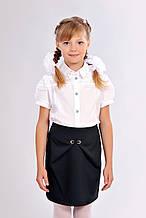 Детская синяя практичная школьная юбка-тюльпан 122-152