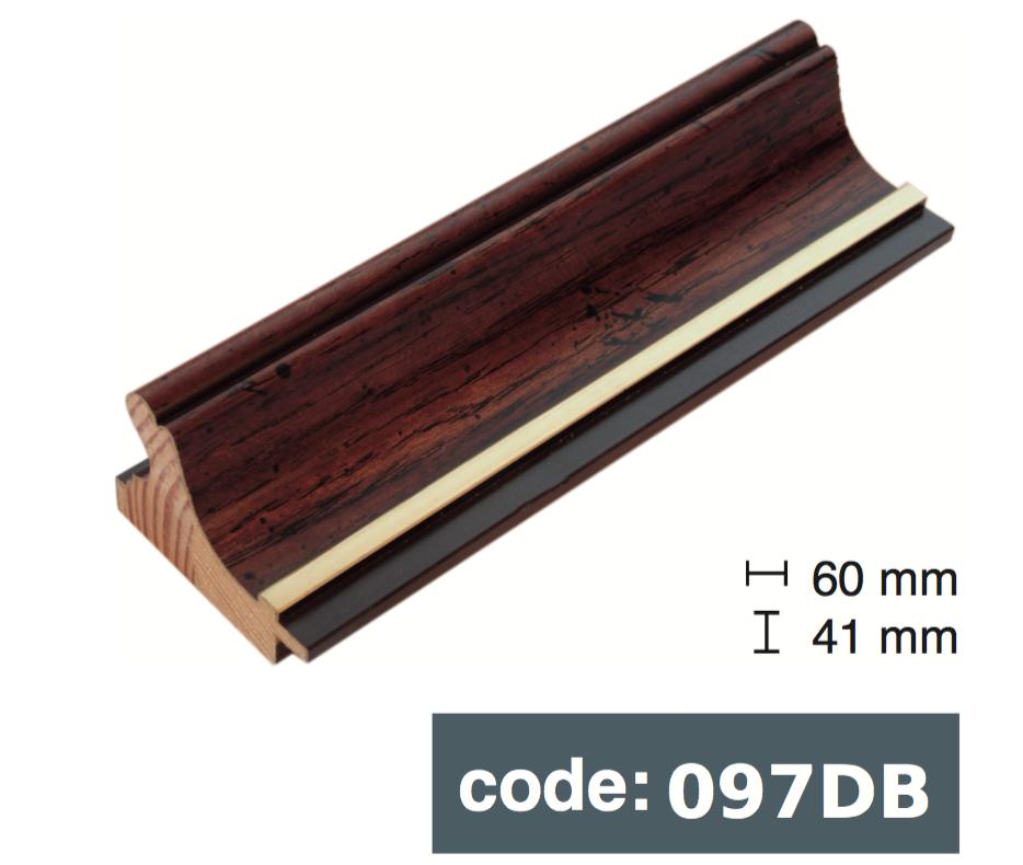 Багет дерев'яний коричневий з чорною смужкою