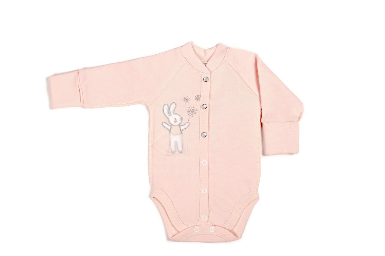 Боди Верес Snowflake футер з начесом розовый