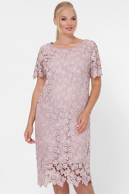 Платье из кружева Элен мелкие цветы беж (52-58)