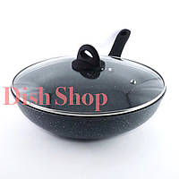 Сковорода-WOK с крышкой диаметр 30 см из литого алюминия с гранитным антипригарным покрытием Benson