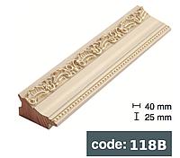 Багет дерев'яний Білий з золотом/Білий з сріблом