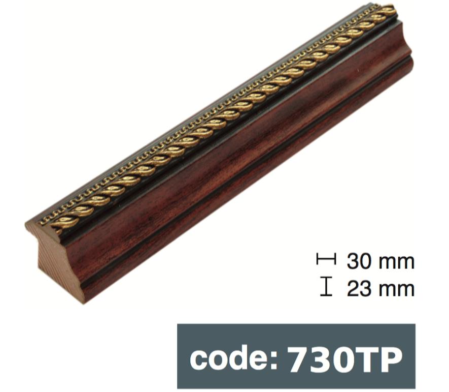 Багет дерев'яний  яскраво-коричневий/коричневий з чорними прожилками