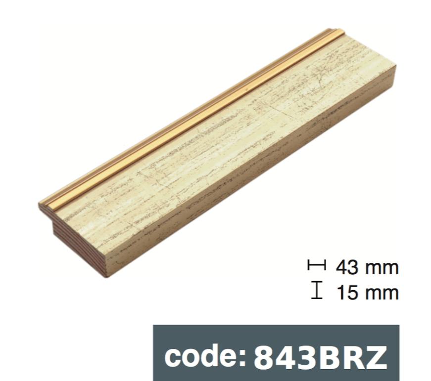 Багет дерев'яний  золото з потертостями
