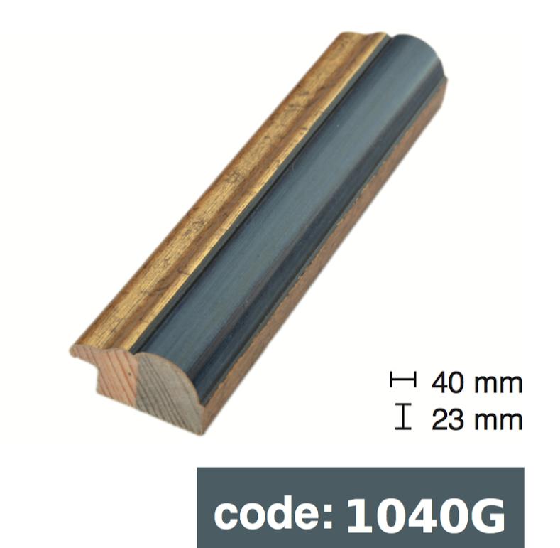 Багет дерев'яний синій з золотою смужкою