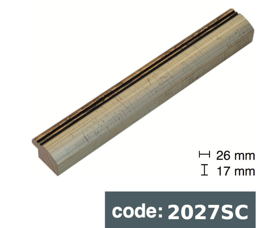 Багет дерев'яний срібний єгипет з двома смужками