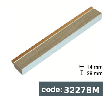 Багет дерев'яний бежева деревина із золотою смужкою