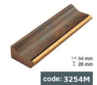 Багет дерев'яний світло- коричнева деревина з золотой смужкою