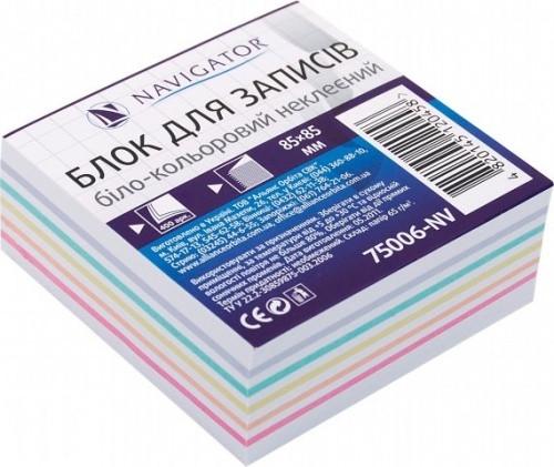 Блок д/ запису біло-кольоровий 85*85*400арк.не клеєн.NV-75006 (30) NAVIGATOR