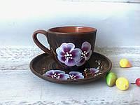Набор кофейная чашка 180 мл с блюдцем с рисунком