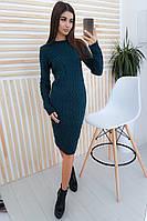 Вязаное платье цвета морской волны с узором