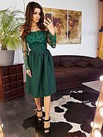 Элегантное приталенное  платье с кружевом темно-зеленого цвета, фото 1