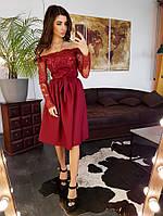 Элегантное приталенное  платье с кружевом бордового цвета, фото 1
