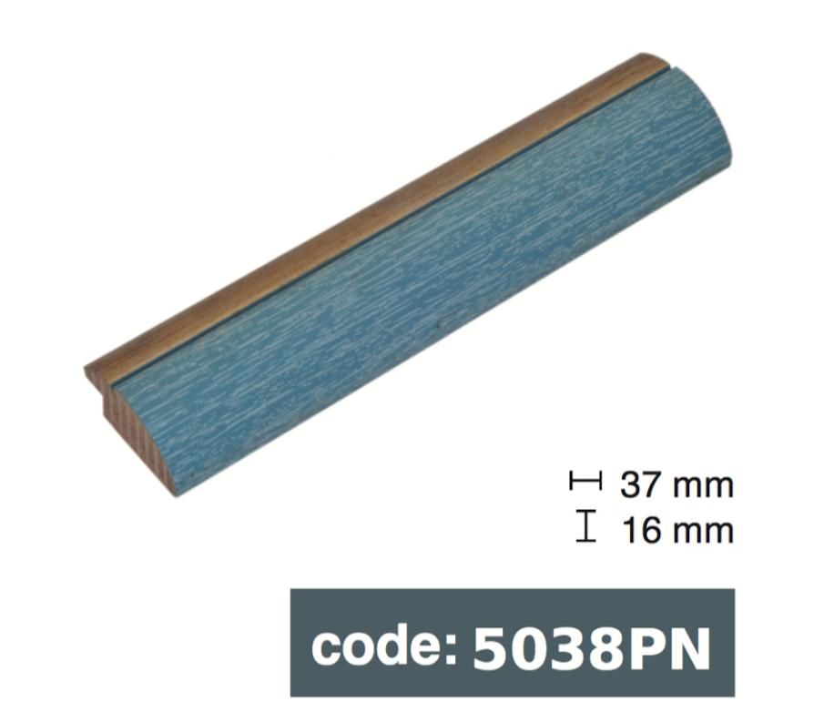 Багет дерев'яний голубий з золотой смужкою