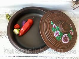 Сковорода из красной глины с рисунком 2 л