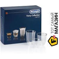 Прозрачный набор стаканов для кофе, для латте без рисунка - Delonghi Fancy Collection 6шт. (DLSC302 MIX) ( двойные стенки ) - материал стекло