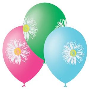 Воздушные шары 12 дюймов/30см П+Д (шелк.) с 2-х ст. 2-цв. рис. Ромашки (25шт.)
