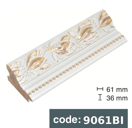 Багет дерев'яний білий з Золотом/Сріблом