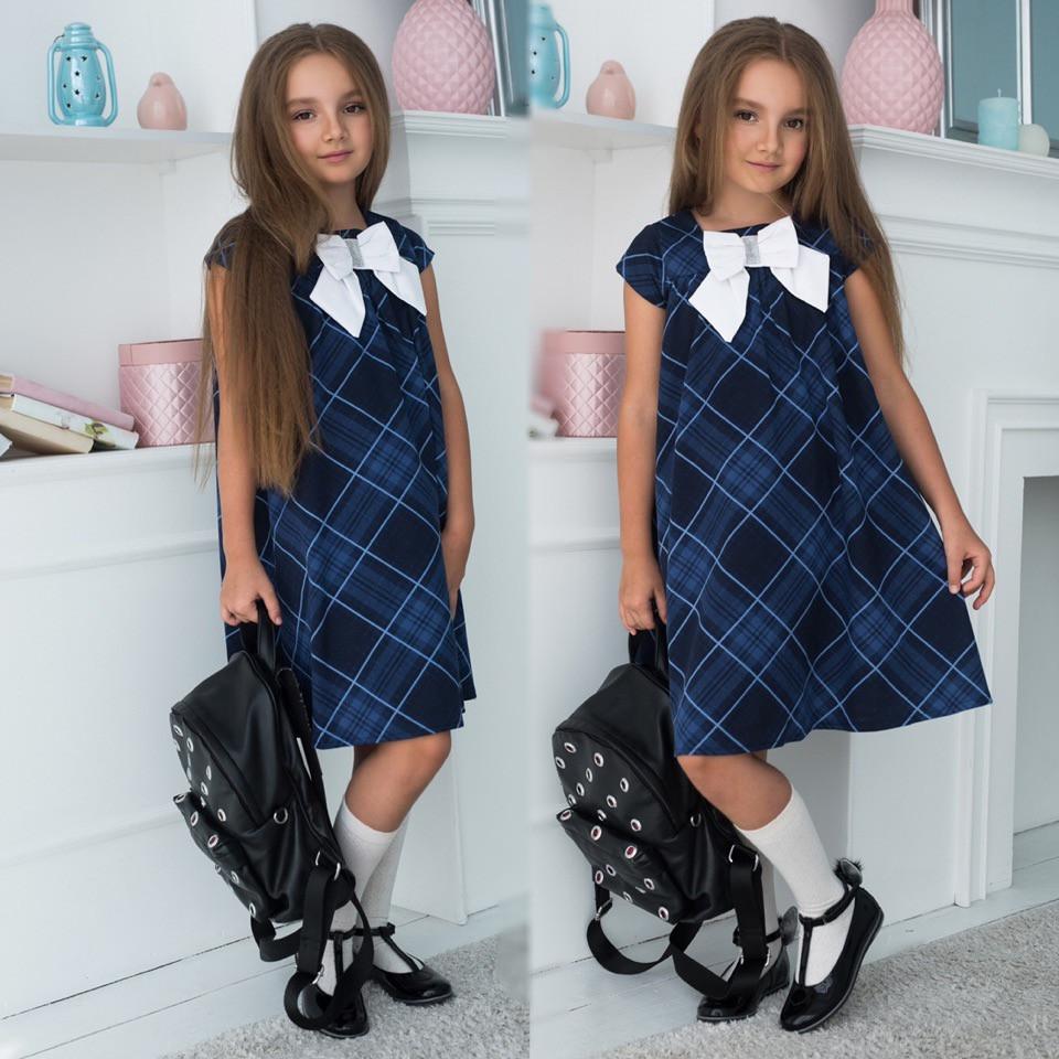 """Детское стильное платье 641 """"Клёш Клетка Бант"""" в школьных расцветках"""