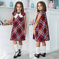 """Детское стильное платье 641 """"Клёш Клетка Бант"""" в школьных расцветках, фото 2"""