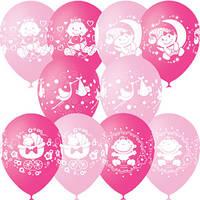 Воздушные шары 12 дюймов/30см Пастель+Декоратор (шелк.) 4 ст. рис С Днем Рождения Малыш ассорти розовое 25шт