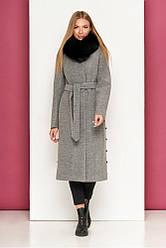 Шикарное пальто женское зимнее с мехом в 5ти цветах М-910/2
