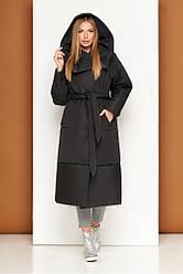 Модная женская куртка-пальто с капюшоном зимняя М-915