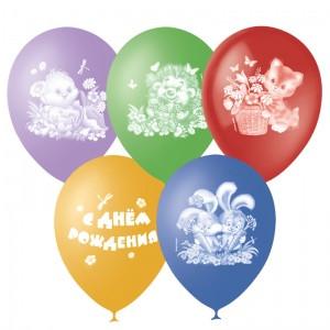 Воздушные шары 12 дюймов/30смП+Д (шелк.) с 4-х ст. рис. День Рождения Детский (25шт.)