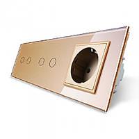 Сенсорный выключатель на 4 линии с розеткой Livolo, цвет золотой, стекло (VL-C702/C702/C7C1EU-13)