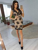 Кружевное платье-футляр без рукавов