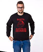 Мужской свитшот с изображением красного цвета Santa s my Ho-Ho-Ho-Homie Черный