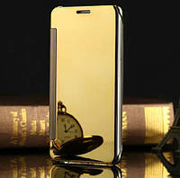 Зеркальный чехол книжка Mirror для Samsung j7 neo (золотистый)