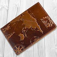 Дизайнерская обложка-органайзер для документов с кожи янтарного цвета с художественным тиснением, фото 1