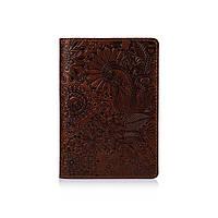 """Шкіряне дизайнерське портмоне для документів коньячного кольору, колекція """"Mehendi Art"""""""