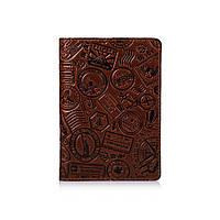 """Шкіряне дизайнерське портмоне для документів коньячного кольору, колекція """"let's Go Travel"""""""