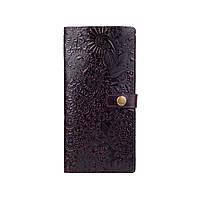"""Місткий коричневий тревел-кейс з натуральної глянсової шкіри, колекція """"Mehendi Art"""", фото 1"""