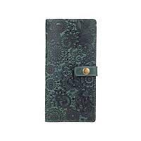 """Красивый кожаный тревел-кейс зеленого цвета с художественным тиснением """"Mehendi Art"""", фото 1"""