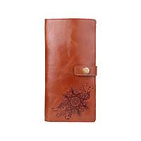"""Тревел-кейс бурштинового кольору з натуральної глянсової шкіри з авторським художнім тисненням """"Mehendi Classic"""", фото 1"""