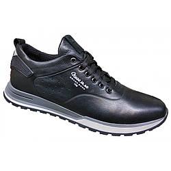 Спортивные туфли мужские кожаные 40-45 чёрный тайфун