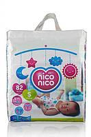 Японские детские подгузники памперсы Nico Nico. Размер S (4-8 кг), 82 шт.