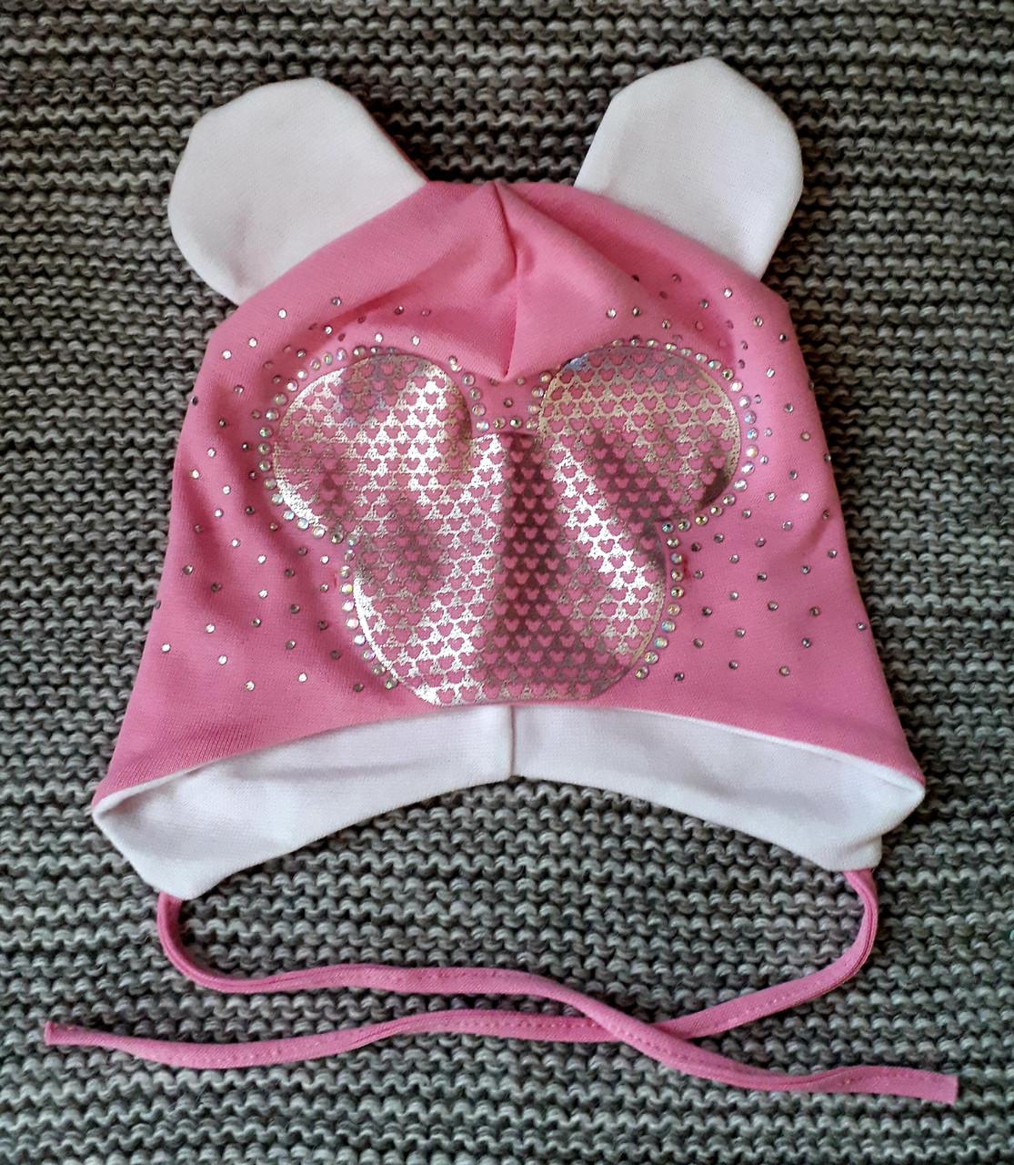 Шапочка на девочку с завязками розового цвета ТМ  (Польша) размер 46 48