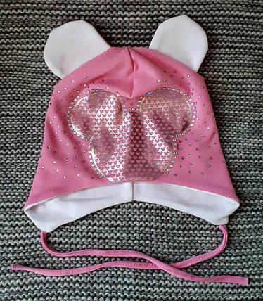 Шапочка на девочку с завязками розового цвета ТМ  (Польша) размер 46 48, фото 2