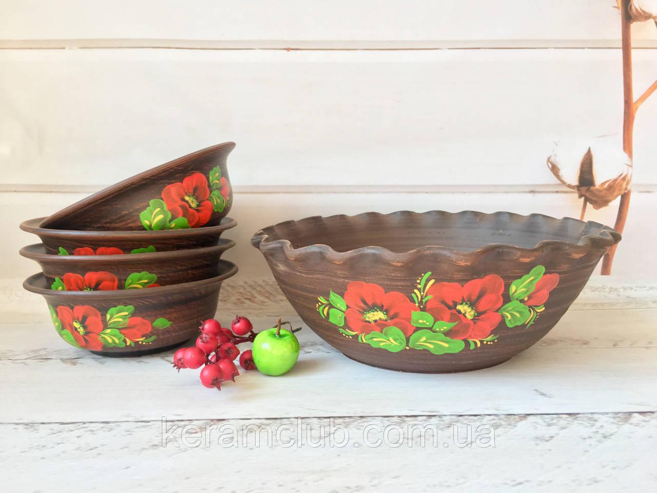 Набір з червоної глини гончарна миска 3 л 4 піали 600 мл з малюнком