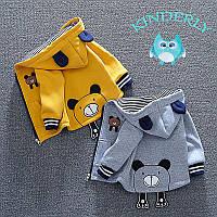 Детская толстовка ,кофта, куртка Мишка ,цвет серый (рост 86-90)