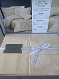 Комплект  постельного белья  жаккард ТМ Nazenin евро размер Florance bej, фото 2