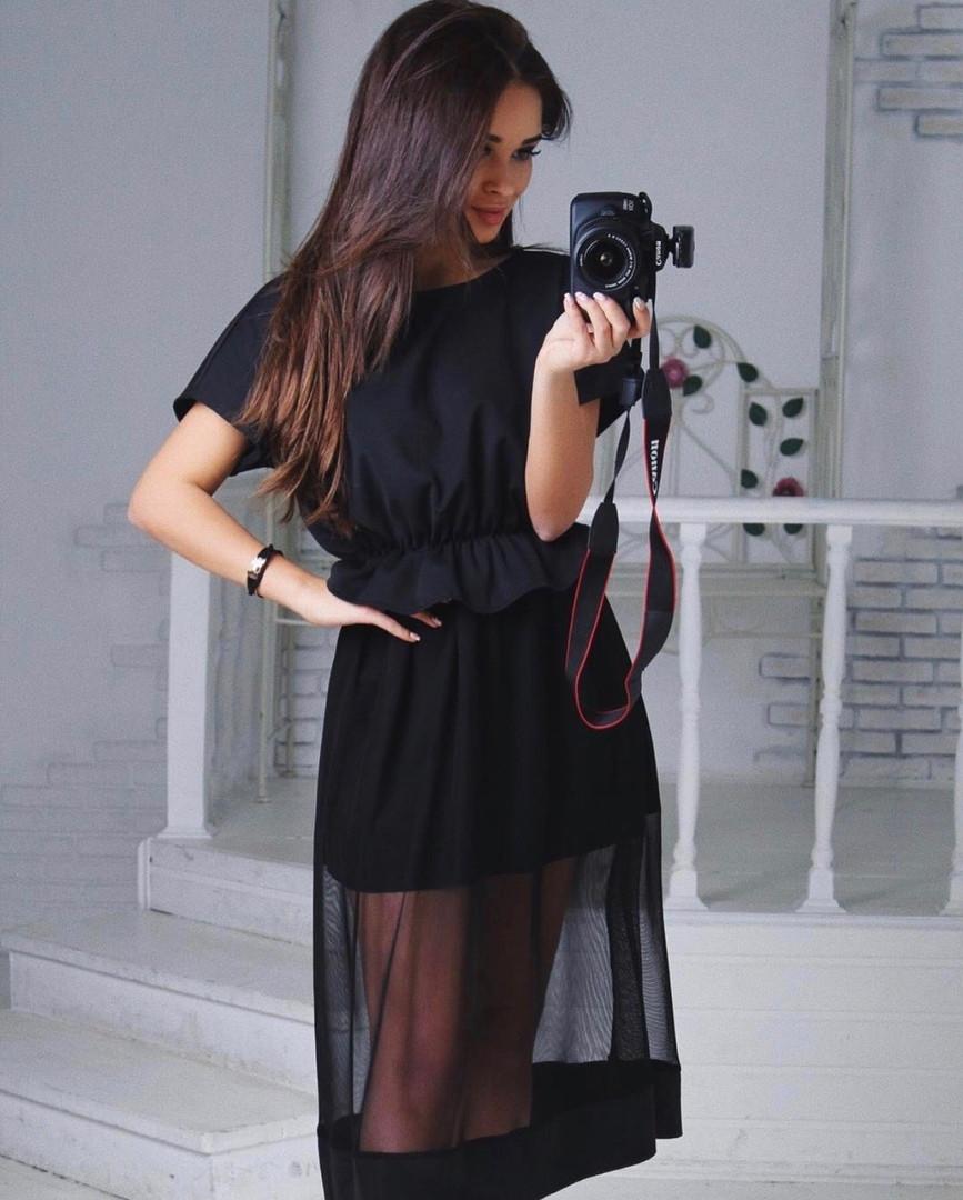 Стильное женское платье с сеткой
