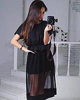 Стильное женское платье с сеткой, фото 1