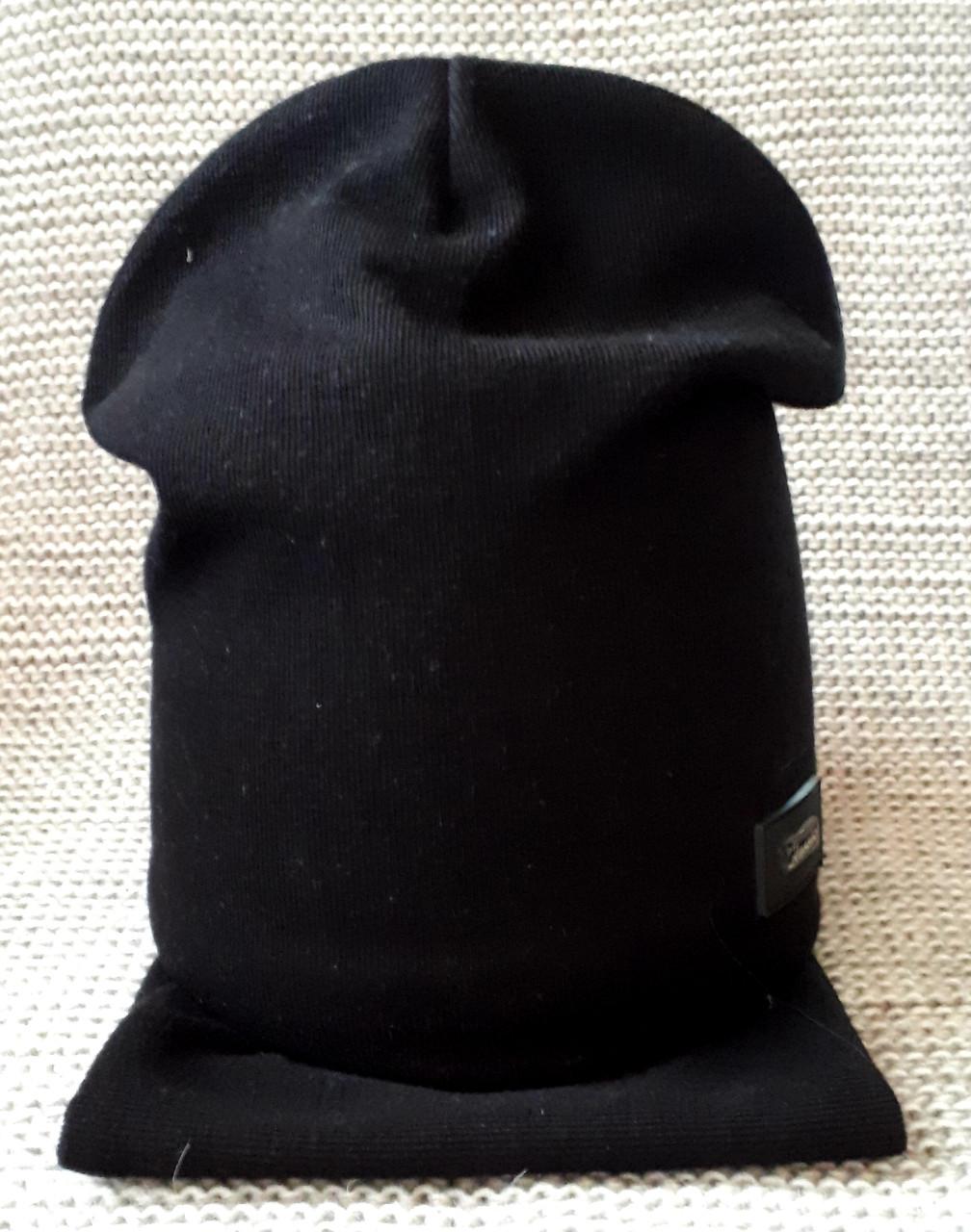 Комплект шапка + хомут  на мальчика весна-осень черного цвета Fido (Польша) размер 50 52