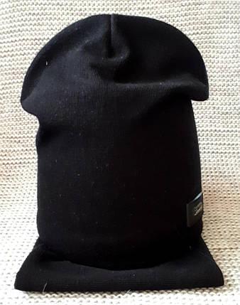 Комплект шапка + хомут  на мальчика весна-осень черного цвета Fido (Польша) размер 50 52, фото 2