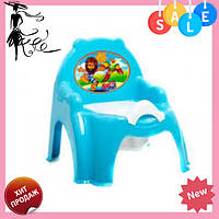 Детский горшок - кресло с крышкой ТехноК 4074 голубой | горшок для ребенка